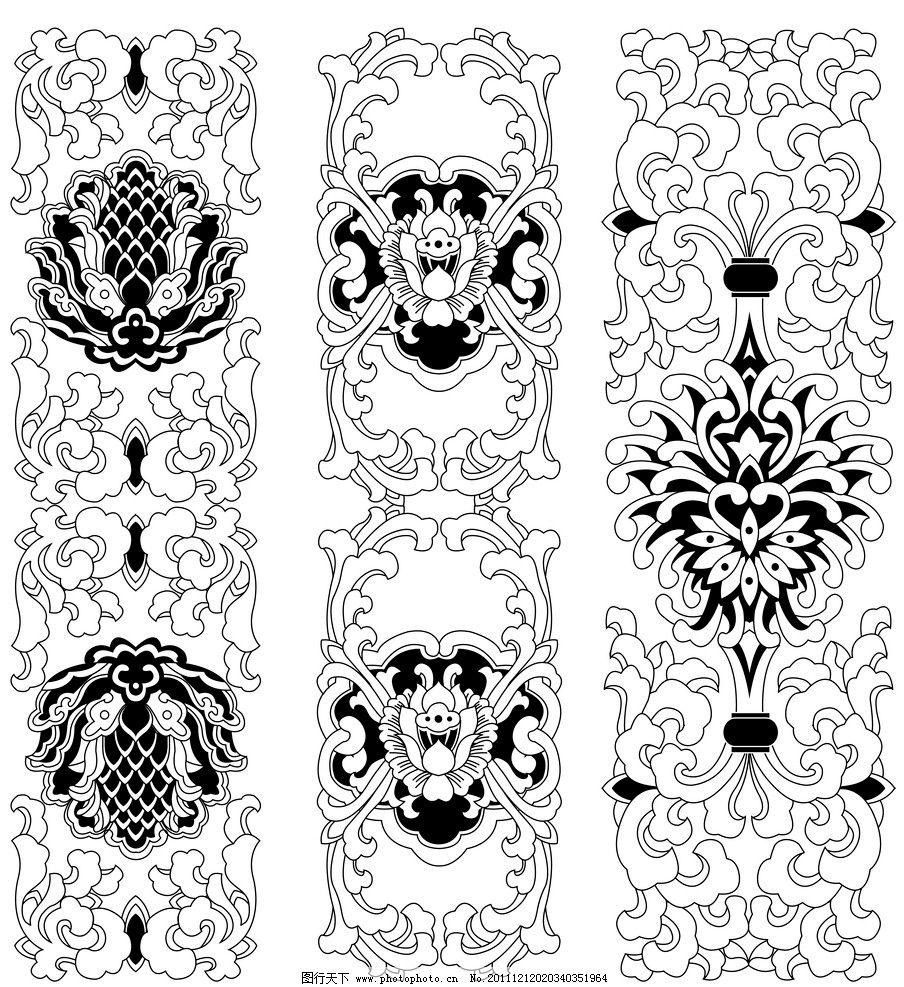 黑白描边佛教传统花边 佛教 传统 花边 花边花纹 底纹边框 设计 300