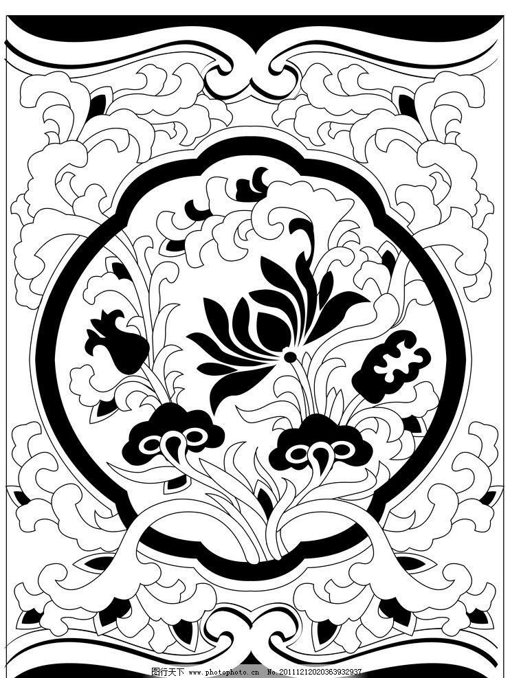黑白莲花方底纹 黑白 莲花 方底纹 花边花纹 底纹边框 设计 300dpi
