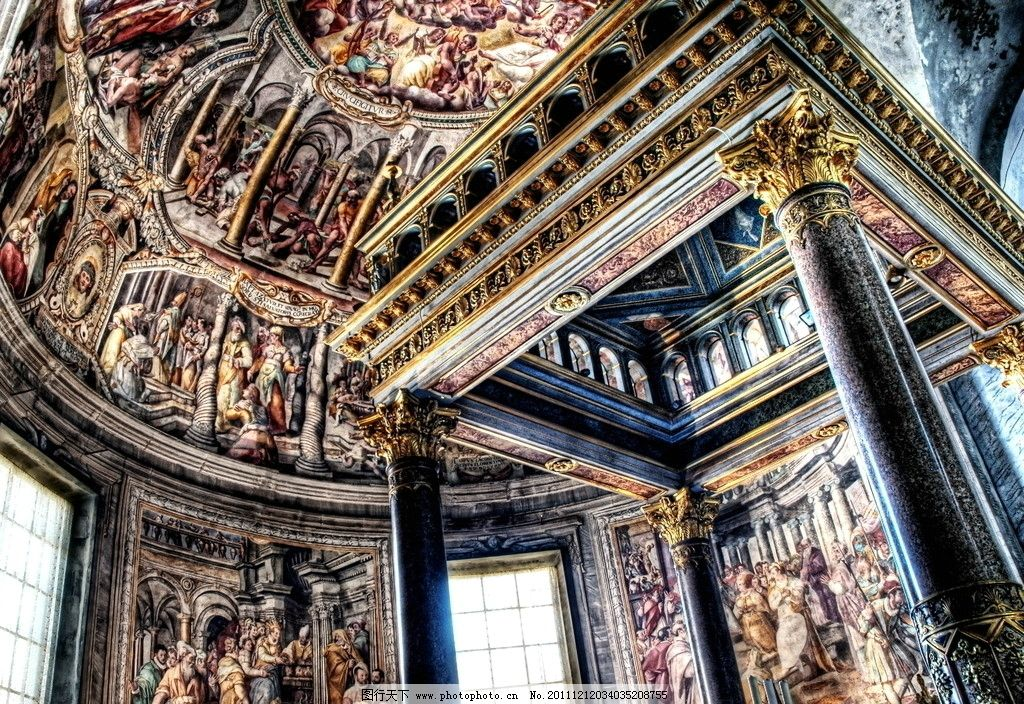 欧式穹顶建筑油画