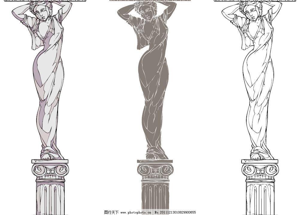 欧式柱子建筑矢量图片