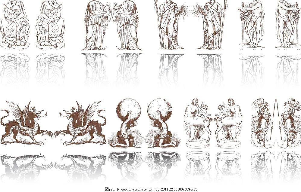 欧式 欧式雕像建筑矢量素材 欧式雕像建筑模板下载 欧式雕像建筑 人物