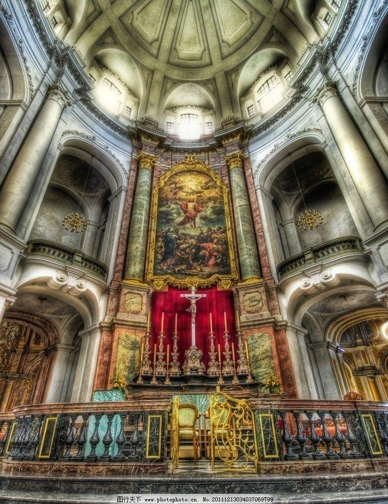 层叠石柱 穹顶 神圣场合 大理石柱 金色建筑 金色装饰 天使 圣母像 壁