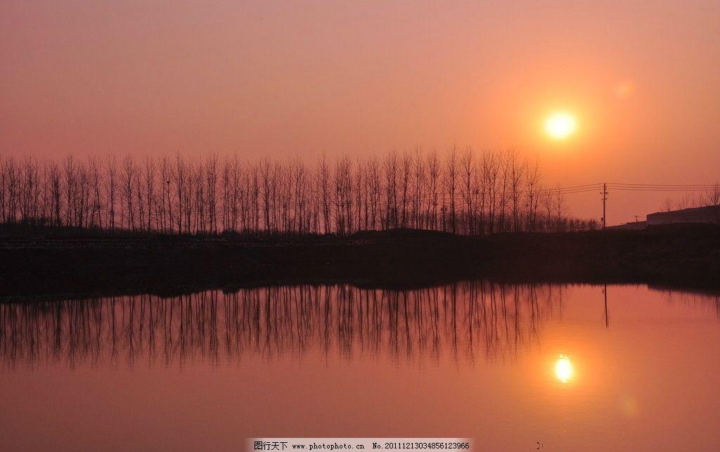夕阳 树木 湖泊 倒影 树林 自然风景 自然景观 摄影 300dpi jpg