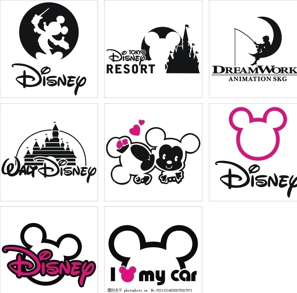 迪士尼卡通图标,小标 米老鼠 城堡 迪士尼标志 汽车小