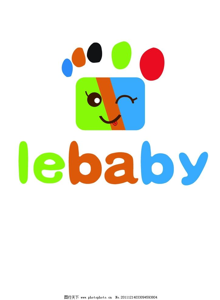 logo 标识 脚丫 宝贝 笑脸 色彩 红 黄 蓝 绿 l e b a y 广告设计psd图片