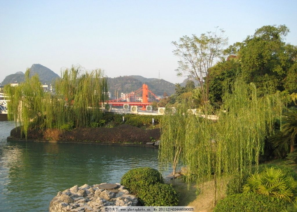 桂林风景 桂林 风景 山水 柳树 碧水 山峦 绿树 山水风景 自然景观