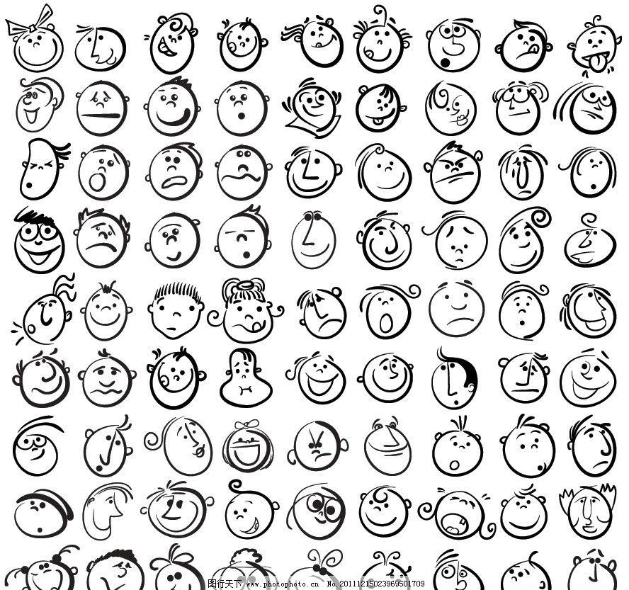 漫画儿童头像图标矢量 手绘 孩子 幼儿 宝宝 有趣 滑稽 可爱