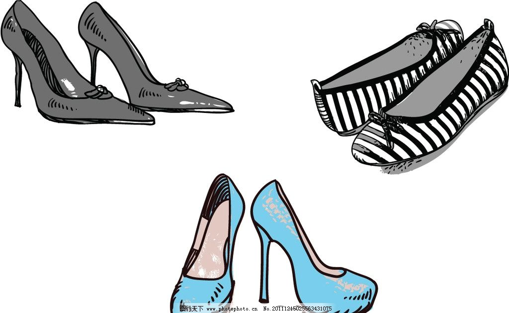 3双风格不同的女士鞋子 圆头高跟鞋 高跟鞋 平底鞋 条纹鞋 尖头鞋