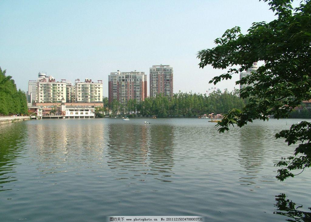 北湖風景 郴州風景 建筑 高樓 大廈 倒影 綠樹 碧水 山水風景