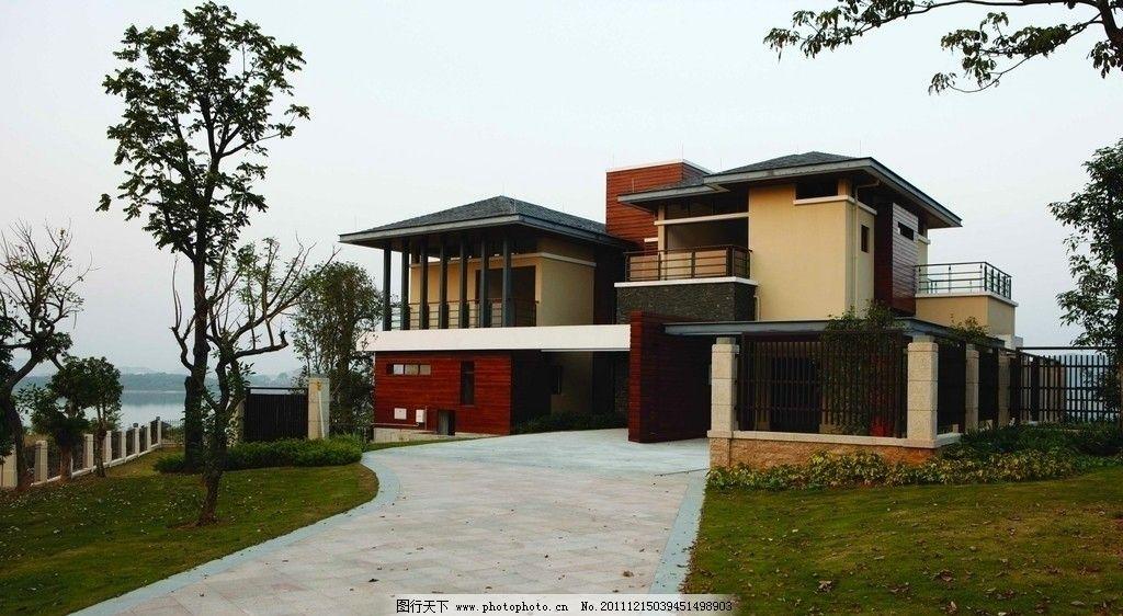 建筑 房子 别墅 石材 玻璃