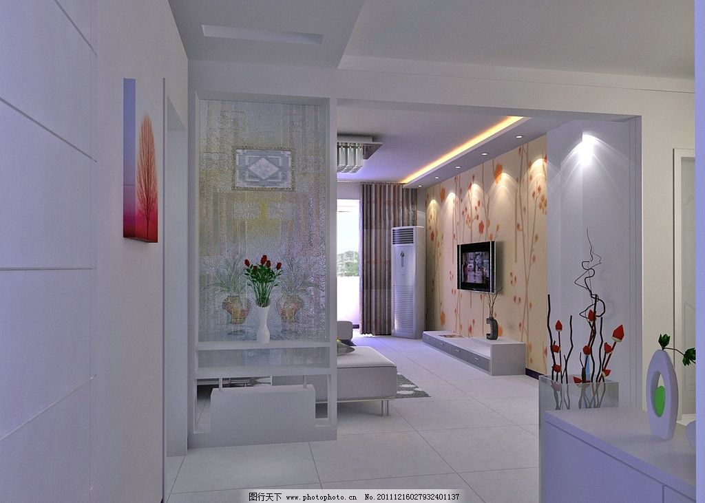 玄关 艺术玻璃 影视墙 壁纸 鞋柜 吊顶 空调 电视 画 室内设计 环境