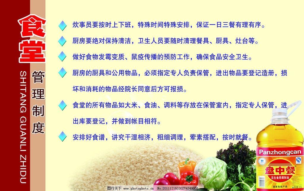 食堂管理制度展板图片