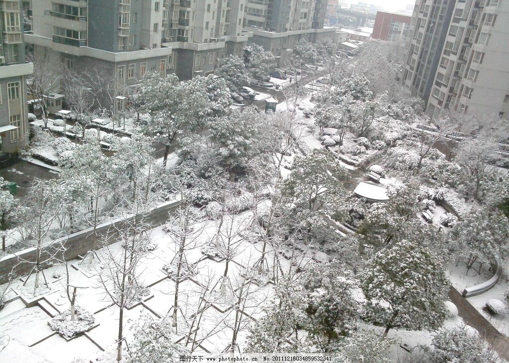 城市雪景 城市风景 小区 飘雪 绿化 朦胧 高楼 白色 自然风景
