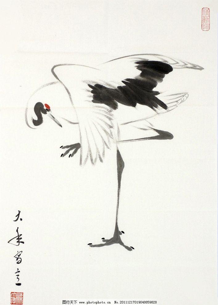 鹤 国画 梁大年 丹顶鹤 仙鹤 日本鹤 japanese crane 丹青 书画 文人