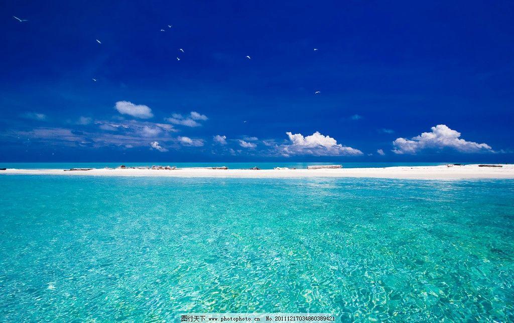 海边沙滩美丽风景 海边沙滩 美丽风景 度假旅游 蓝色 蓝天白云 阳光灿