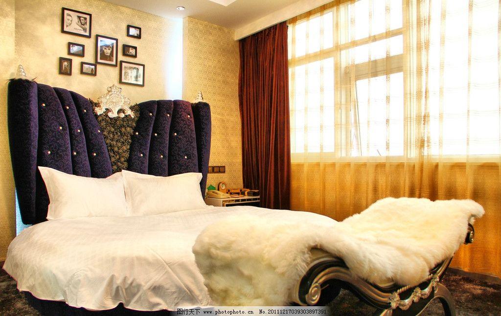 酒店 房间 高清 摄影 欧美 欧式 奢华 圆床 赫本 卧室 大床