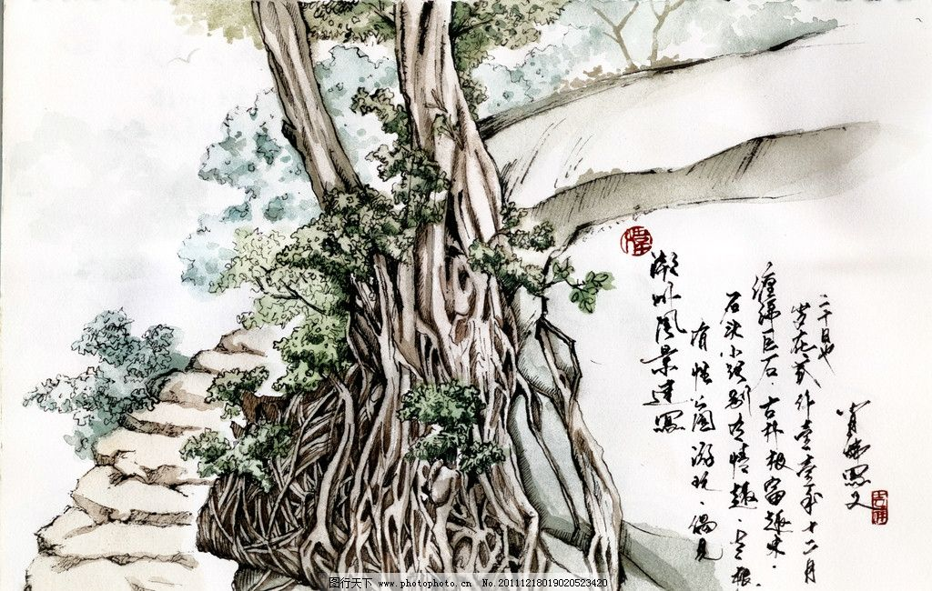 潮州风景速写 钢笔水彩 绘画书法 文化艺术