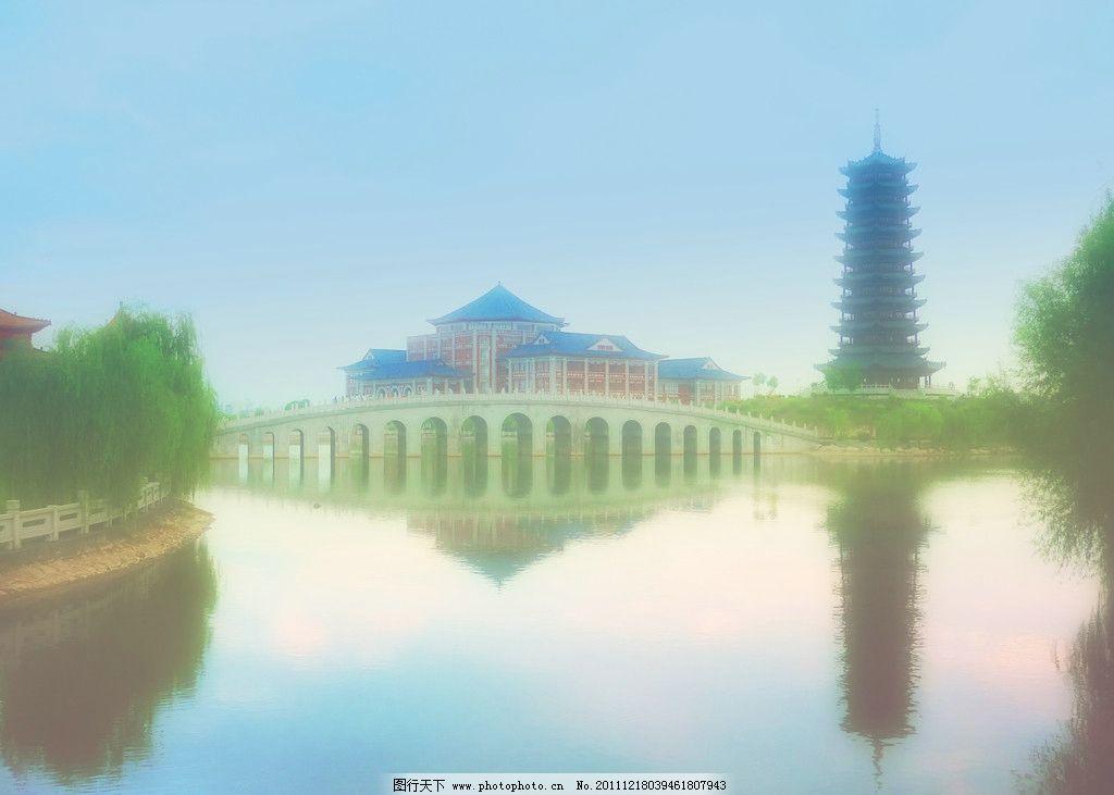 南医大 南方医科大学 虹桥 图书馆 建筑 水面 倒影 高塔 绿树