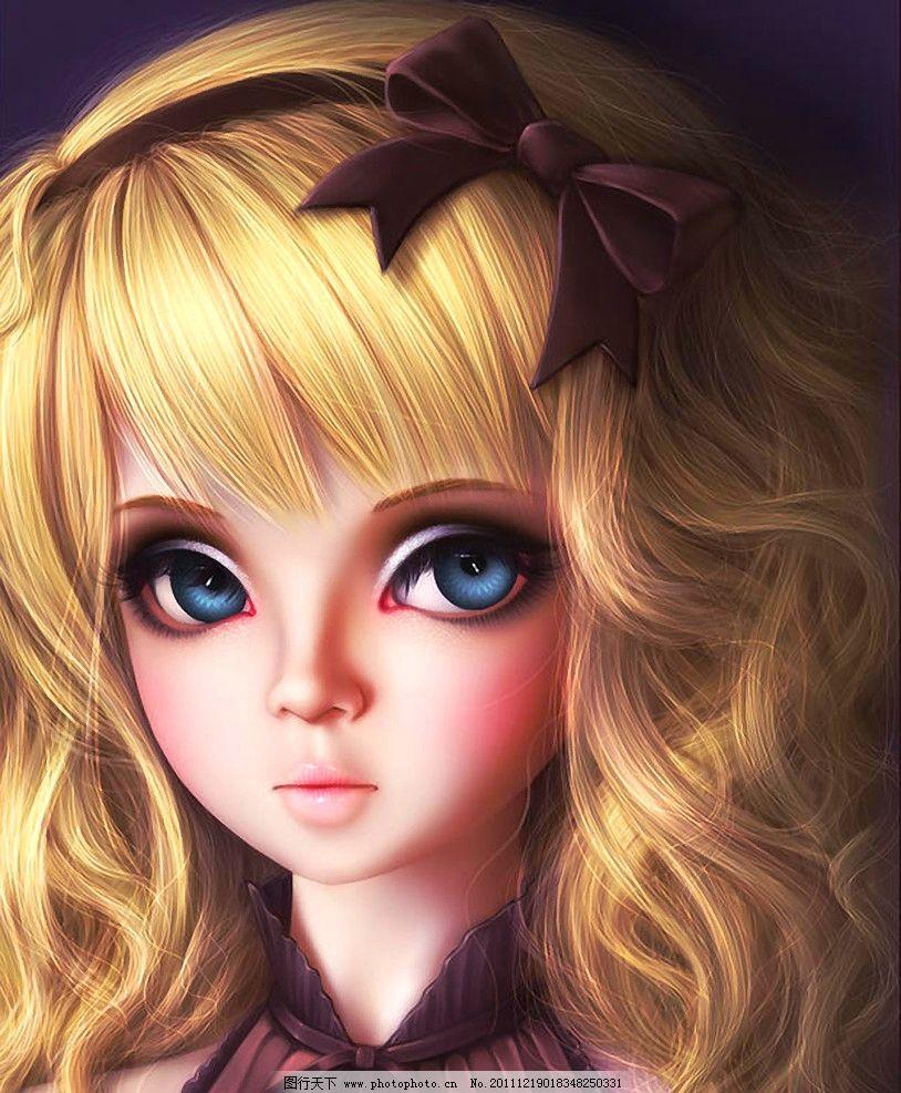 洋娃娃 金发 大眼睛 卡通 绘本 手绘 艺术 油画 趣味 儿童画