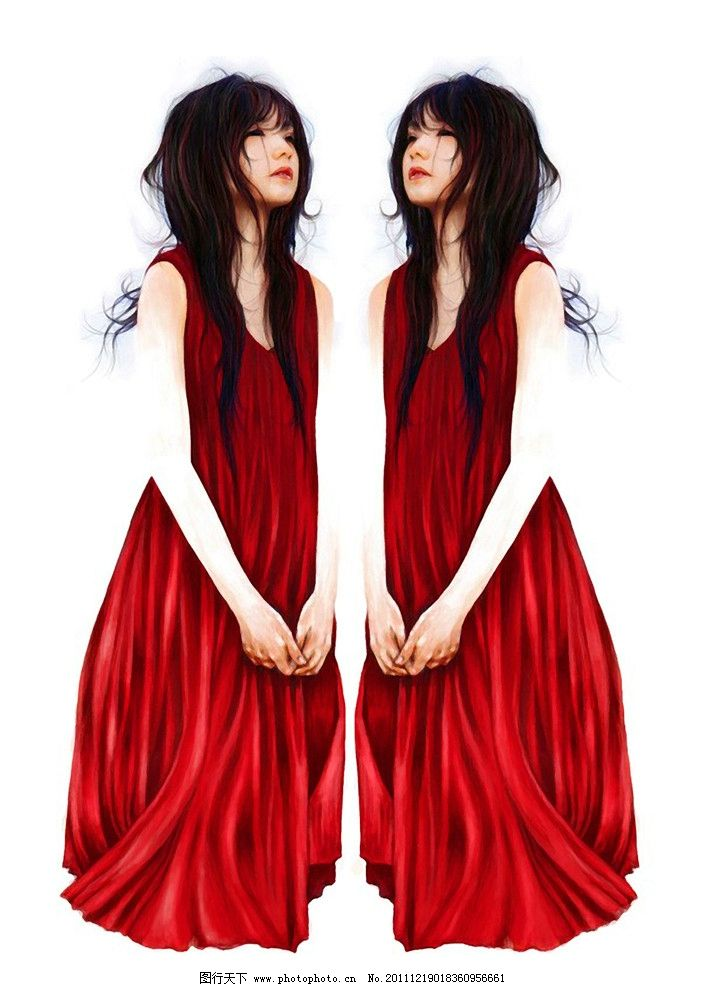 红裙 裙子 女孩 失恋 失落