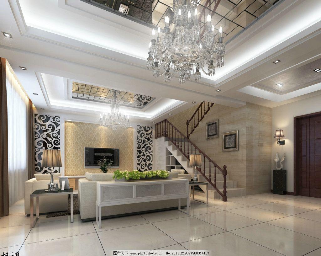 客厅效果图      客厅3d效果图 沙发 电视 楼梯 室内设计 环境设计