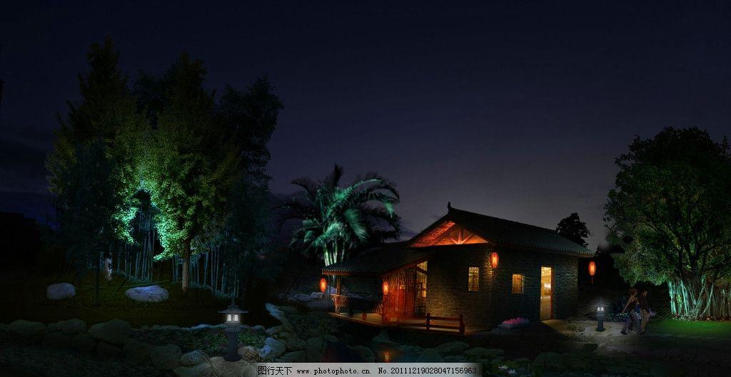 乡村小屋 小屋 夜景        灯光 乡村 建筑设计 环境设计 设计 300dp