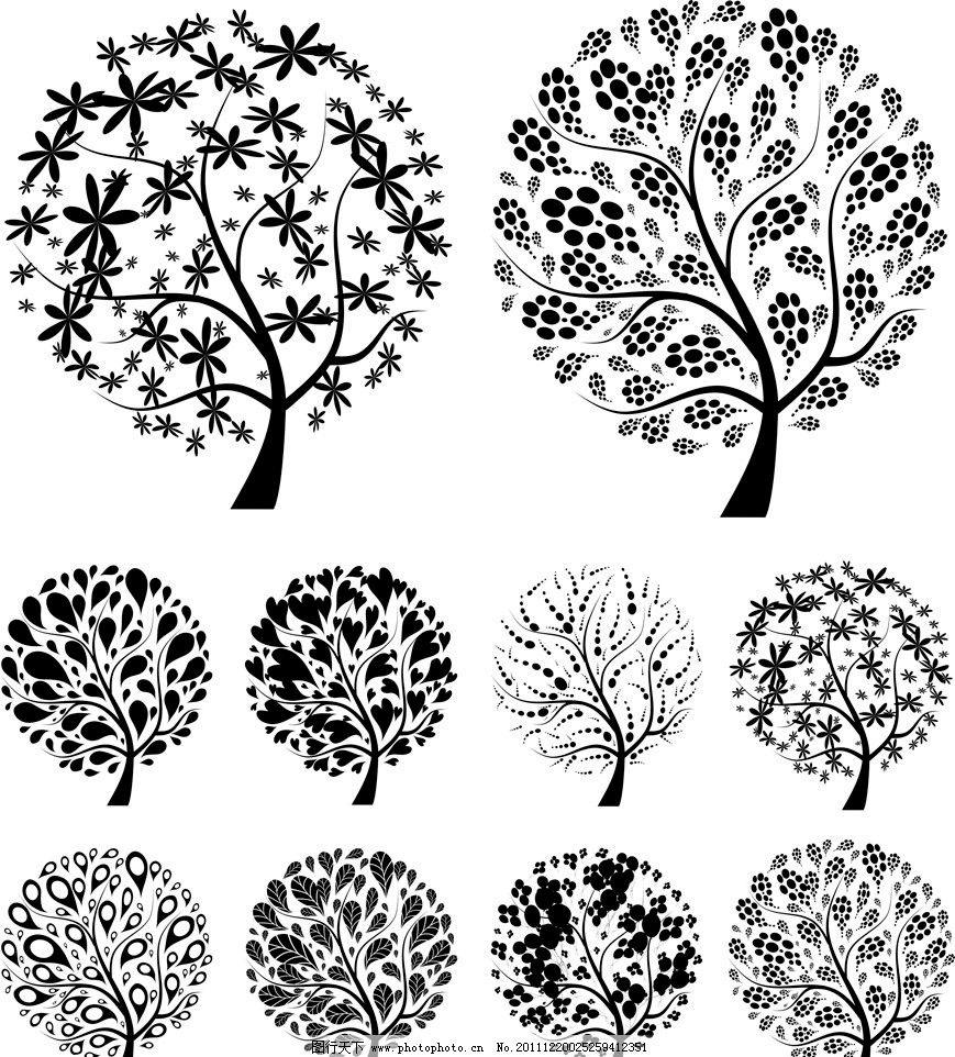 树木花纹矢量图片