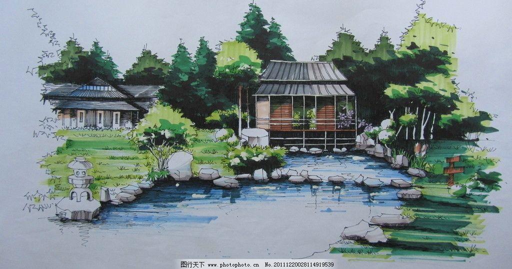 日式园林手绘 亭子 滨水 日式 园林 手绘 景观设计 环境设计 设计 180
