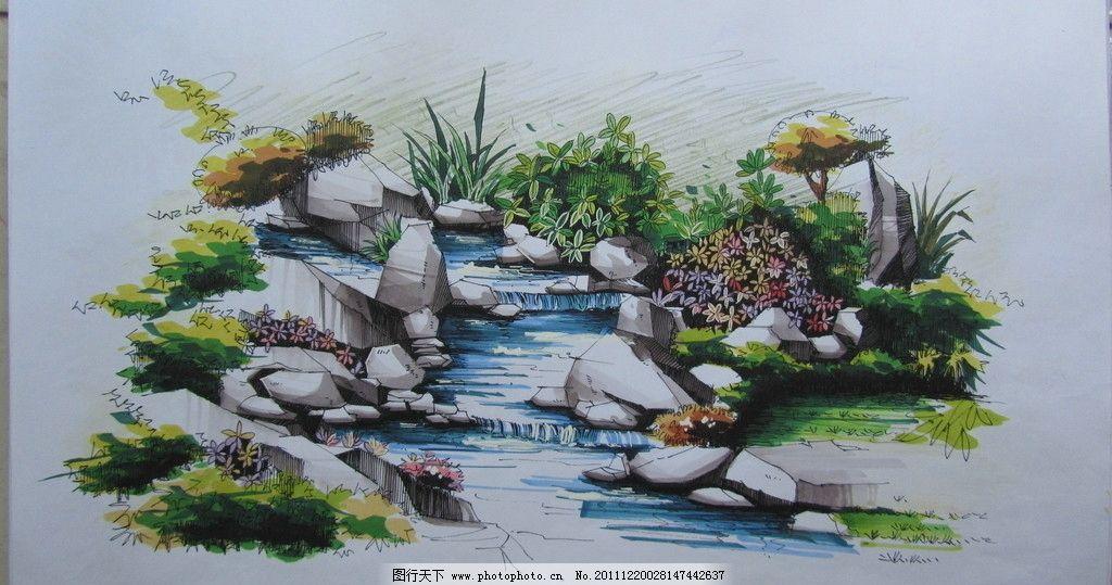 小溪石头水景手绘图片