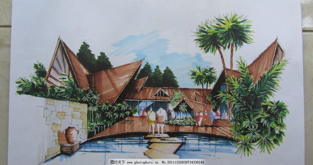 东南亚风格建筑风景手绘 东南亚 建筑 风景 园林 水景 手绘 美术绘画