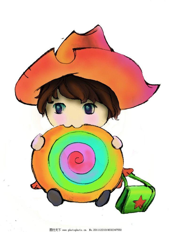 棒棒糖小孩 卡通 男孩 书包 绘画书法 文化艺术 设计 300dpi jpg图片