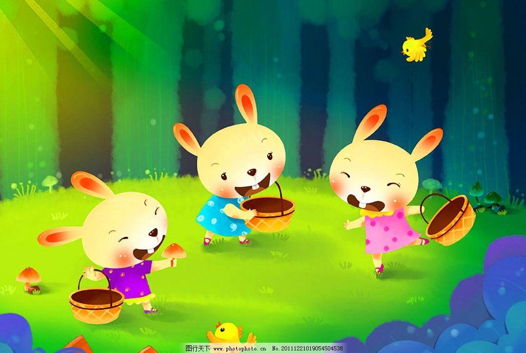 小兔子 采蘑菇 卡通 绘本 手绘 艺术 油画 趣味 儿童画 绘画 插图 萌