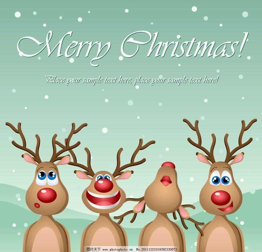 可爱小鹿圣诞背景图片