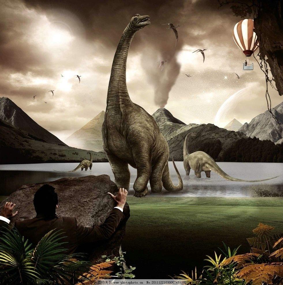 发现侏罗纪 发现 侏罗纪 恐龙 火山 湖 海报设计 广告设计模板 源文件
