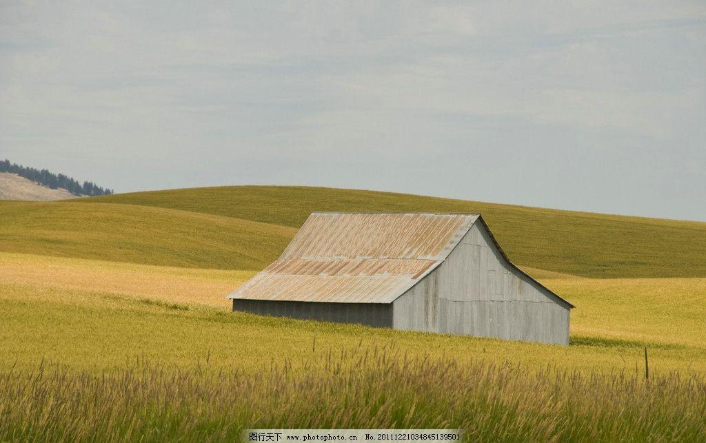 田园 房子 小草 黄色 山地 自然风景 自然景观 摄影