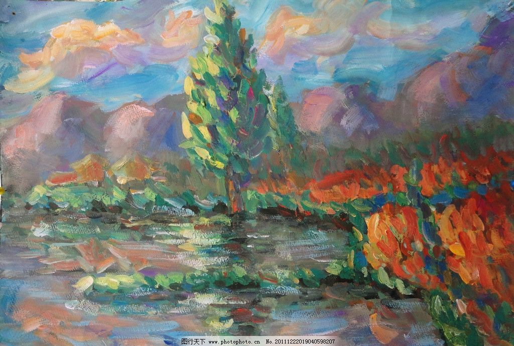 风景水粉画 田园 自然景观 水粉画 水粉风景 绘画书法 文化艺术 设计