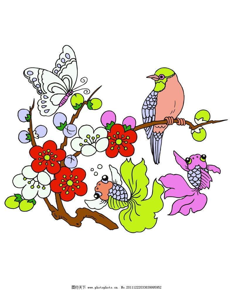黄鹂 金鱼 翠鸟 绣花标 印花标 标志 移门印花 服装设计 图案