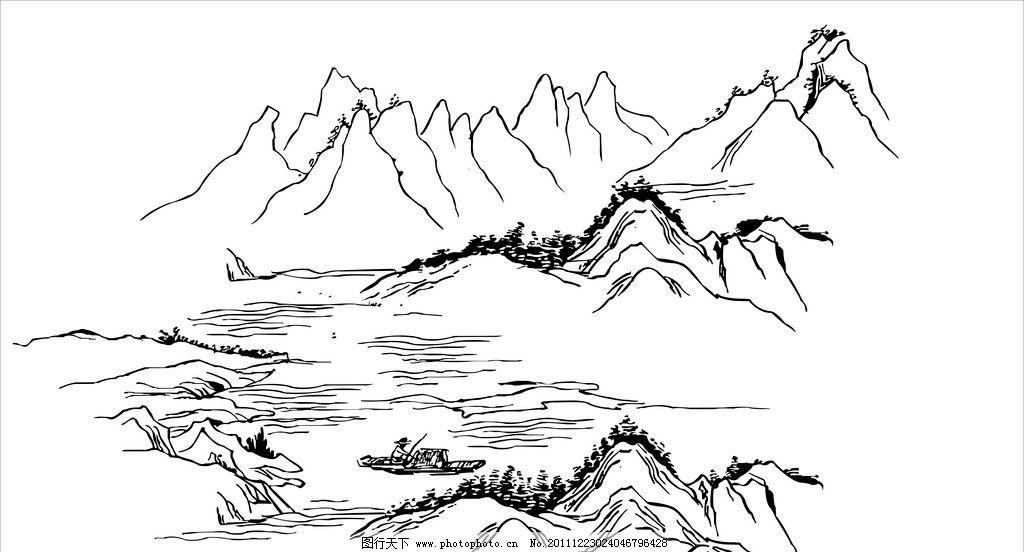 矢量山水图 山水图 矢量山水 古画 独江垂钓 矢量渔翁 山水风景 自然