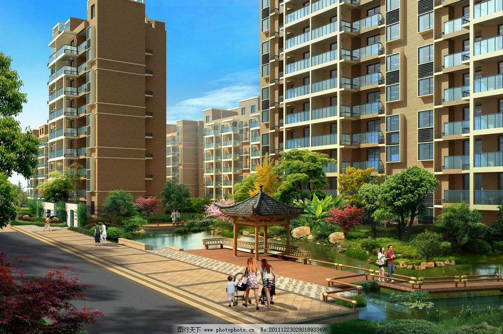 小区景观透视 住宅楼 小高层 住宅效果图 高层透视图 亭子 水系