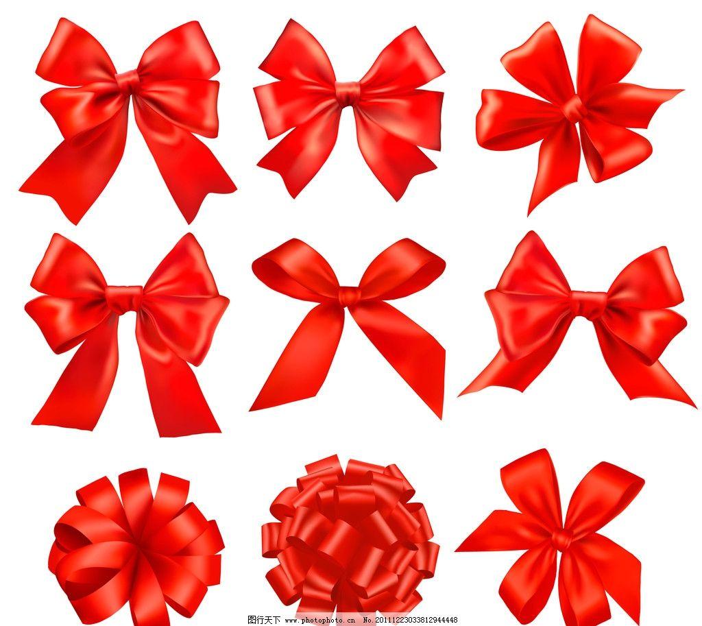 蝴蝶结 丝带 红色丝带 彩带 新年素材 新年装饰品 圣诞节图片 节日