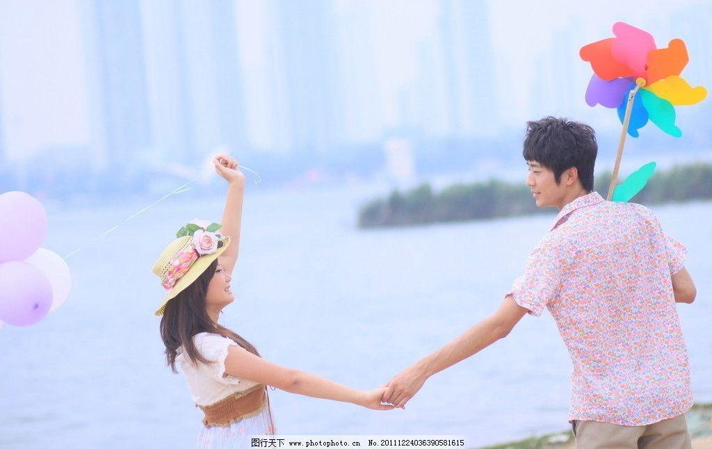 非主流 情侣 唯美 写真 河边 沙滩 帅哥 美女 雨伞 背影 浪漫 意境 手
