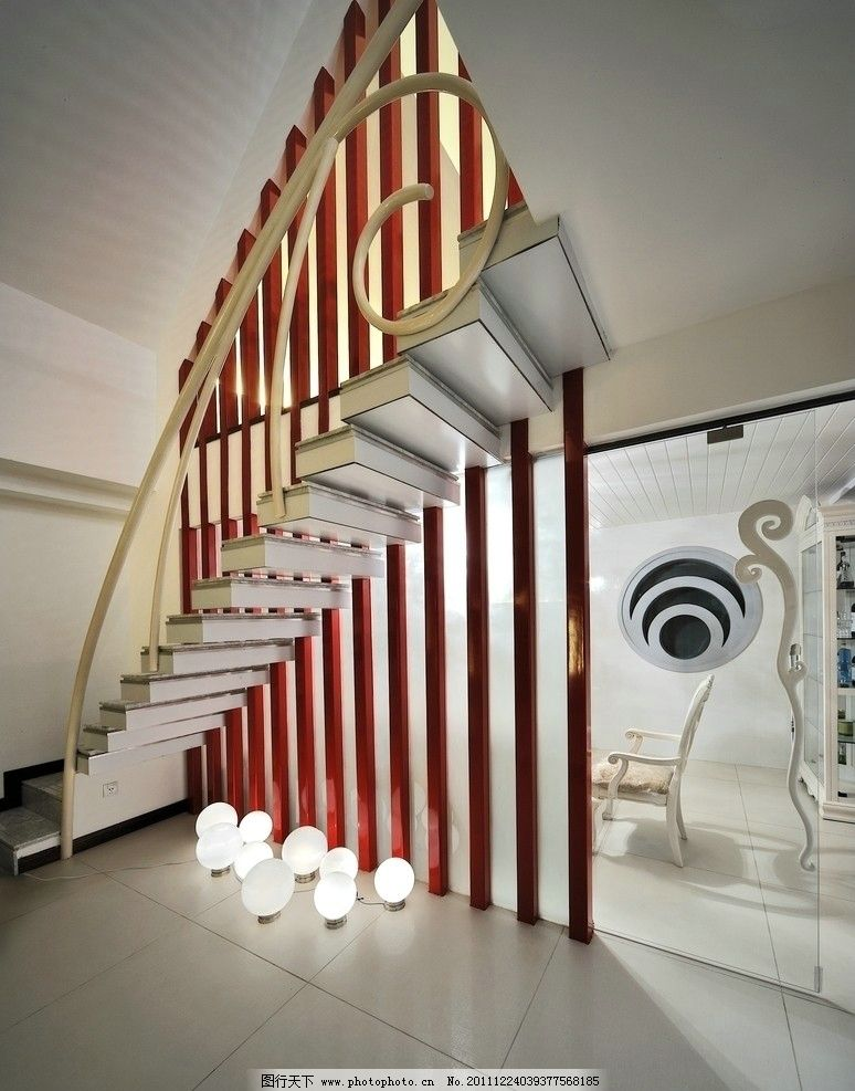 楼梯 复式 欧式 花纹 栏杆 雕花 实木 室内 装修 装潢 家居