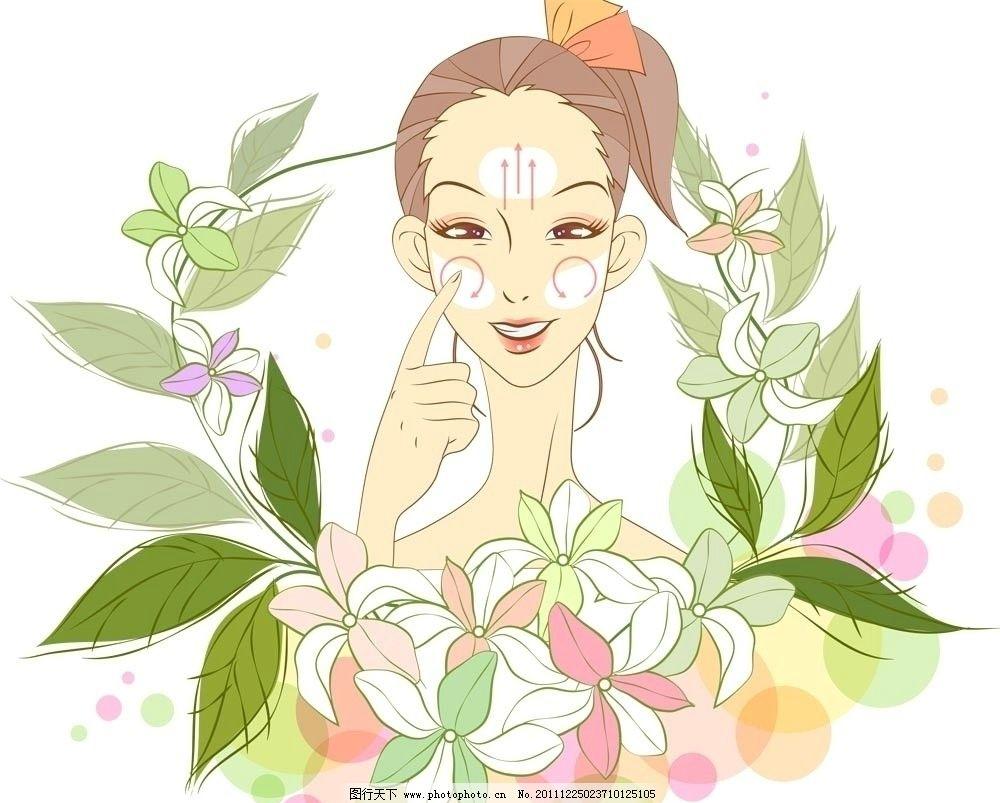 鲜花丛中的女人卡通