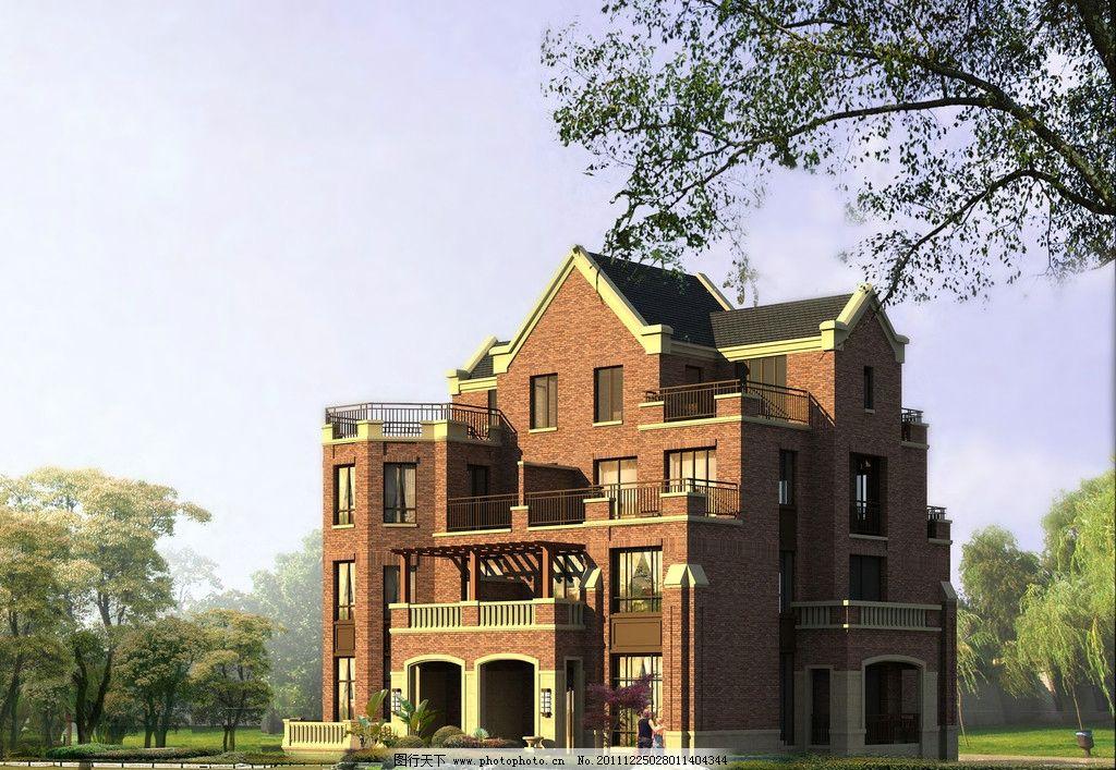 欧式别墅 别墅 洋房 连体别墅 公园 花园 庭院 建筑设计 楼盘 建筑