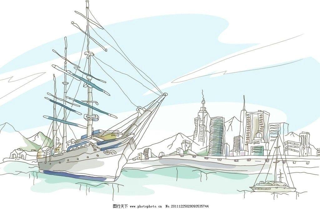 海港景观 帆船 大海 建筑 景观 线条 手绘 线稿 白描 矢量 建筑线条