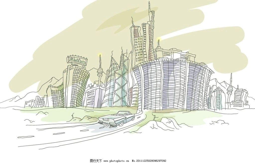 线条 手绘 线稿 白描 矢量 景观 建筑线条矢量图 城市建筑 建筑家居 c