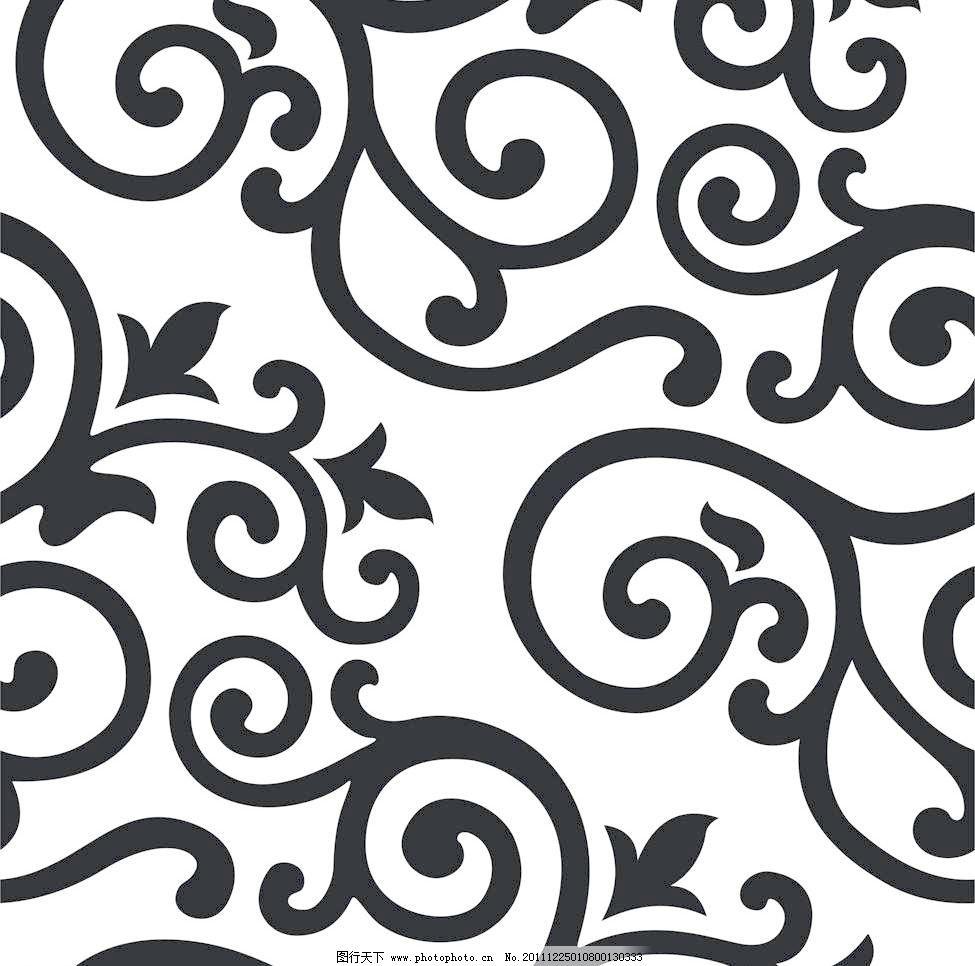 欧式花纹 图案 背景墙 装饰 时尚 剪影 黑白 3d贴图 素材 材质 欧式