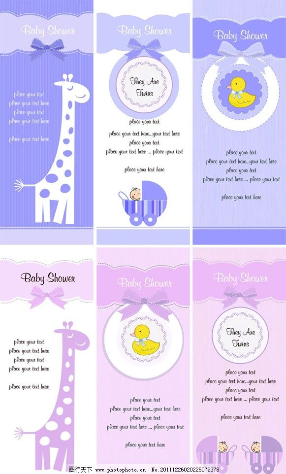 手绘可爱婴儿长颈鹿卡片 (含eps)图片