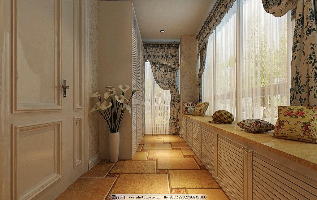 欧式窗台 阳台效果 窗台设计 走道效果 窗帘设计 欧式碎花墙纸 室内