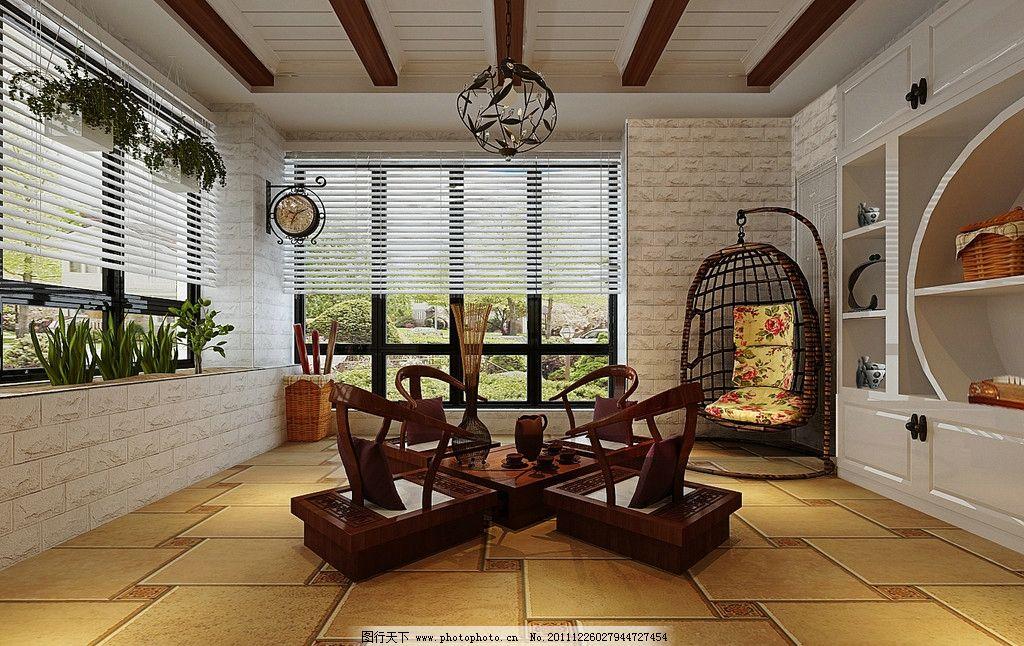 休闲厅效果图 茶社效果 红木桌椅 欧式效果 休闲厅效果 休闲厅布局